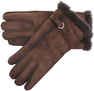 Lambland Ladies/Womens Genuine Sheepskin Gloves with Buckle Feature and Wool Out Trim in Chocolate Size XL