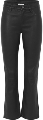 West 14th Midtown Crop Flare Pant Black Stretch Leather