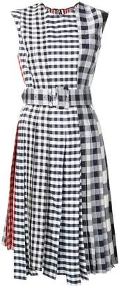 Thom Browne Fun-Mix Gingham Check Midi Dress