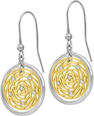 Italian Silver Two-Tone Crystal Disc Dangle Earrings