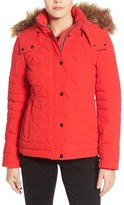 Andrew Marc 'Tess' Quilted Down Jacket with Removable Faux Fur Trim Hood