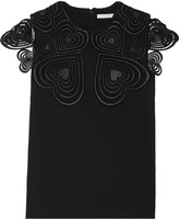 Christopher Kane Love Heart guipure lace-trimmed stretch-crepe top