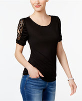 INC International Concepts Petite Lace-Sleeve Top, Created for Macy's