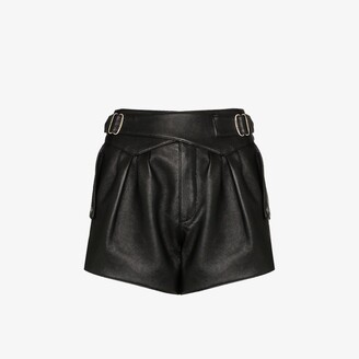 Saint Laurent High Waist Leather Shorts