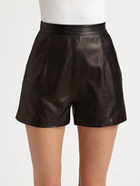 Milly Kelsey Leather Shorts