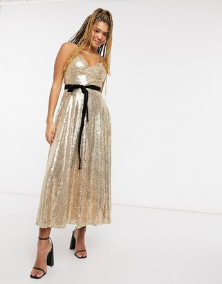 Forever U sequin cami skater midi dress with contrast bow in gold