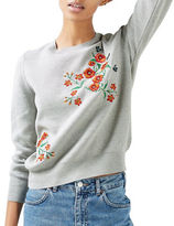Topshop Floral Embroidered Knit Sweater