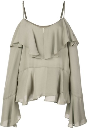 Nicole Miller ruffled off shoulder blouse