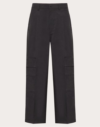 Valentino Nylon Cargo Trousers Man Black Polyester 100% 44