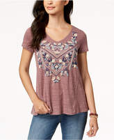 Style&Co. Style & Co Textured-Graphic Swing-Hem T-Shirt, Created for Macy's