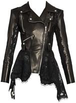 Alexander McQueen Lace-Trim Leather Peplum Moto Jacket