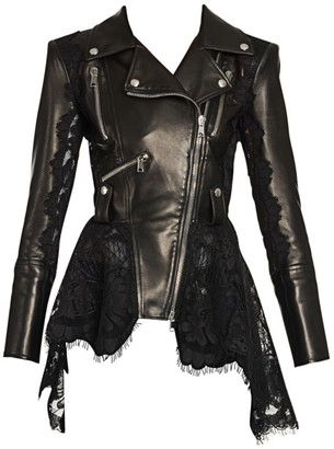 Alexander McQueen Lace-Trim Leather Peplum Moto Jacket