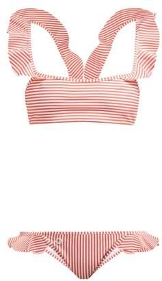 Fendi Ruffled Striped Bikini - Womens - Orange Stripe