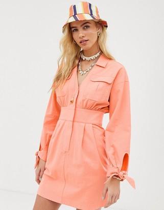 Asos Design DESIGN washed utility mini shirt dress-Orange