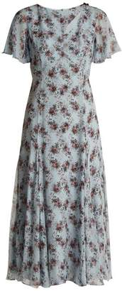 Erdem Kathryn Keiko Diamond-print Silk Dress - Womens - Blue Print
