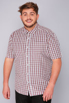 Yours Clothing BadRhino Red, Blue & White Checked Short Sleeve Shirt