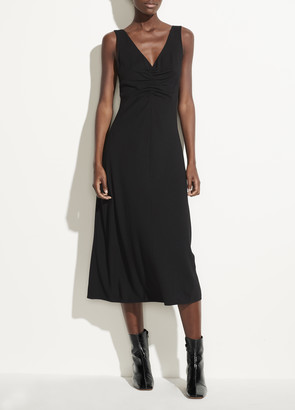 Vince Ruched Double V-Neck Dress