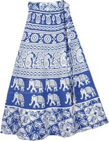 """TLB - Block Printed Wrap Skirt in and White - L:33""""; W:24""""-32"""""""