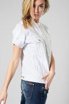 7 For All Mankind Short Sleeve Raw Edge Jacket In White Fashion