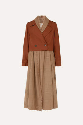 Chloé Layered Houndstooth Wool Trench Coat - Brown