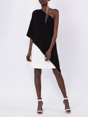 Givenchy One Shoulder Shift Dress Black/white