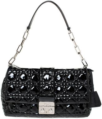 Christian Dior Black Cannage Patent Leather New Lock Shoulder Bag