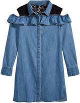 GUESS Cotton Cold Shoulder Denim Dress, Big Girls