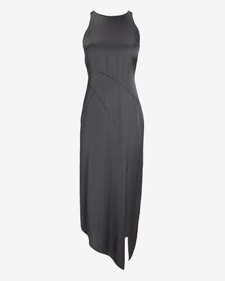 Express Satin Seamed High Neck Slip Dress