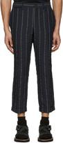 Sacai Navy Striped Seersucker Trousers