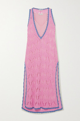 J.W.Anderson Layered Two-tone Crocheted Cotton And Crepe De Chine Maxi Dress - Pink
