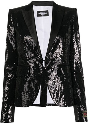 DSQUARED2 Sequin Embroidered Fitted Blazer
