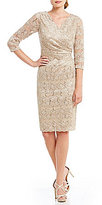 Jessica Howard Surplice V-Neck Lace Dress