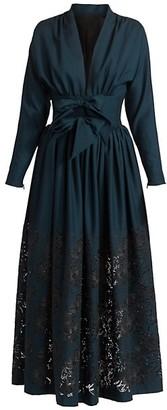 Alaia Bow-Waist Pointelle Dress