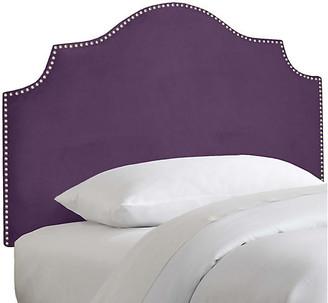 One Kings Lane Miller Kids' Headboard - Aubergine Velvet - upholstery, violet; nailheads, silver