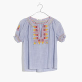 Madewell Embroidered Penny Peasant Top