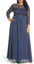 Decode 1.8 Plus Size Women's Embellished A-Line Chiffon Gown