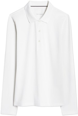 Tory Burch Tech Pique Long-Sleeve Polo
