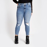 River Island Plus blue ripped Amelie super skinny jeans