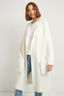 French Connection Vhari Faux Fur Pocket Cardigan