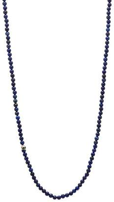"""John Varvatos Collection Sterling Silver Skull & Lapis Bead Necklace, 24"""""""