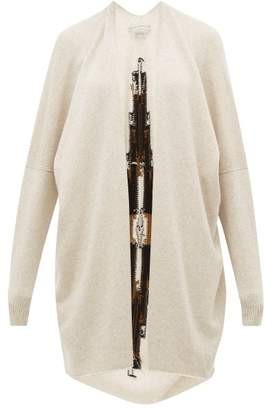 Queene and Belle Sonora Geometric Intarsia Cashmere Cardigan - Womens - Ivory Multi