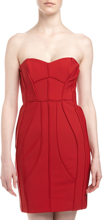 Laundry by Shelli Segal Strapless Seamed Sweetheart Dress, Rose Red