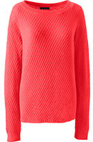 Classic Women's Petite Lofty Textured Mix Stitch Boatneck Sweater-Bright Scarlet