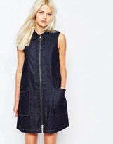 Monki Denim Shift Dress With Contrast Trim