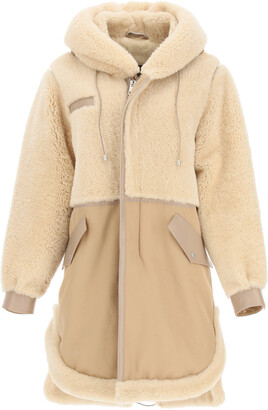 Mr & Mrs Italy COTTON PARKA WITH LEATHER AND SHEARLING INSERTS S Beige, Brown Leather, Fur, Cotton