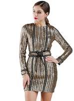 Missord Women's Sexy O-neck long sleeve sequin belt rope mini dress