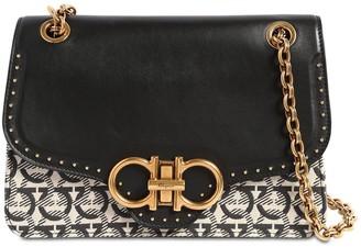 Salvatore Ferragamo Leather & Canvas Shoulder Bag