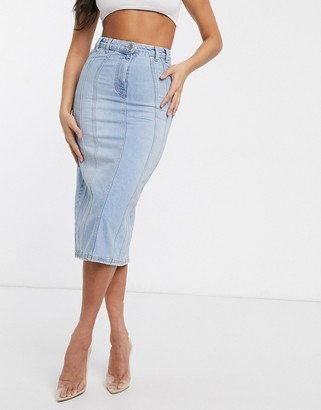 Asos DESIGN seamed denim contour midi skirt