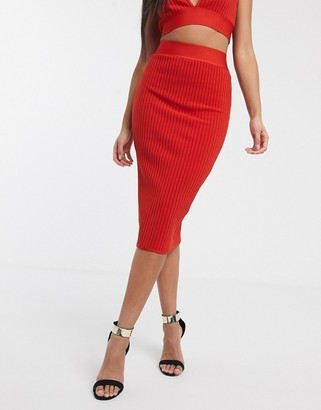 Band Of Stars bandage ribbed midi skirt in rust