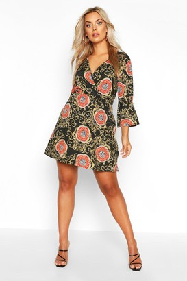 boohoo Plus Chain Print Wrap Skater Dress
